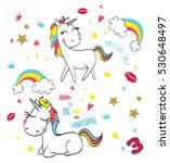 cute magic with unicorn   Shutterstock .eps vector #530648497