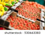 red tomatoes background | Shutterstock . vector #530663383