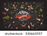 hand sketched happy holidays... | Shutterstock .eps vector #530663557