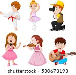 kids engaged in different... | Shutterstock .eps vector #530673193
