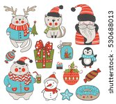 set of christmas or new year... | Shutterstock .eps vector #530688013