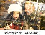 modern hipster couple shopping... | Shutterstock . vector #530703043