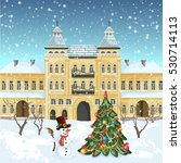 christmas card .decorated... | Shutterstock . vector #530714113