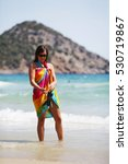 woman in white bikini enjoying... | Shutterstock . vector #530719867