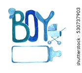 watercolor frame for baby boy. | Shutterstock . vector #530737903