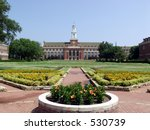 Edmon Low Library & Formal Gardens, Oklahoma State University - stock photo
