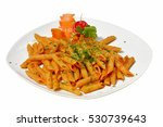 penne pasta with chili sauce... | Shutterstock . vector #530739643