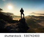Man On Top Of Mountain. Hiker...