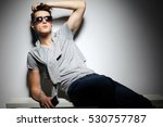 sexy young man in fashion style.... | Shutterstock . vector #530757787
