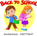 boy and girl are going to school | Shutterstock .eps vector #530774647