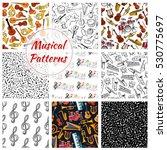 musical instruments patterns.... | Shutterstock .eps vector #530775697