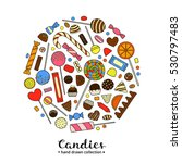 hand drawn colorful candies... | Shutterstock .eps vector #530797483