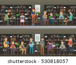 people study in atheneum set.... | Shutterstock .eps vector #530818057