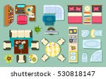 flat interior top view. living... | Shutterstock .eps vector #530818147