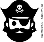 pirate with jolly roger hat icon | Shutterstock .eps vector #530829343