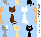 happy cute cats of different... | Shutterstock . vector #530839483