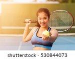 woman in sportswear serves... | Shutterstock . vector #530844073