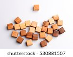 one square wood block standing... | Shutterstock . vector #530881507