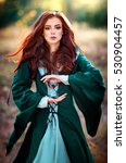 beautiful red haired girl in... | Shutterstock . vector #530904457