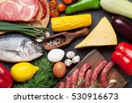 vegetables  fish  meat and... | Shutterstock . vector #530916673