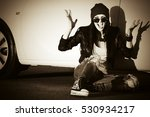 angry punk woman sitting next... | Shutterstock . vector #530934217