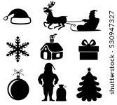 christmas silhouette set | Shutterstock . vector #530947327