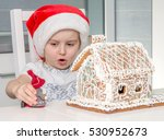 cute little girl in red santa... | Shutterstock . vector #530952673