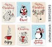set of six vector holiday... | Shutterstock .eps vector #530953393
