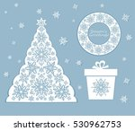 laser cut out xmas set with... | Shutterstock .eps vector #530962753