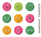 sport and dieting flat linear... | Shutterstock .eps vector #531006133