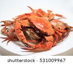 Red Crabs On White Plate. Fres...