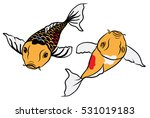 hand drawn colorful koi fish... | Shutterstock .eps vector #531019183
