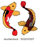 hand drawn colorful koi fish... | Shutterstock .eps vector #531019207
