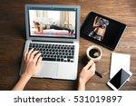 woman watching sport training... | Shutterstock . vector #531019897