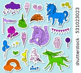 violet  blue and green unicorns ... | Shutterstock .eps vector #531023023