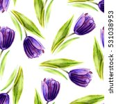 Watercolor Purple Tulip Flower...
