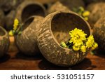 Yellow Flowers In Coconut Shell