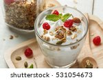 greek yogurt in a glass with... | Shutterstock . vector #531054673