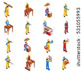 woodwork people isometric icons ...   Shutterstock .eps vector #531055993