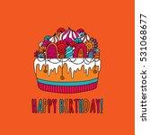 birthday cake doodle vector... | Shutterstock .eps vector #531068677