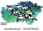 running horse a herd of