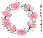 wreath with pink chamomile... | Shutterstock .eps vector #531101287