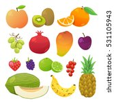 cute and tasty fruits... | Shutterstock .eps vector #531105943
