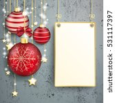 golden stars with hanging board ... | Shutterstock .eps vector #531117397