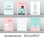 set of cute cat greeting card ... | Shutterstock .eps vector #531119917