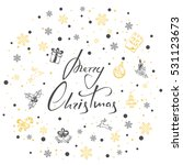 lettering merry christmas with... | Shutterstock . vector #531123673