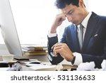 stress work headache rubbing... | Shutterstock . vector #531136633