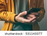 unlocking smartphone with... | Shutterstock . vector #531143377