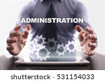 Small photo of Businessman is using tablet pc and selecting administration.