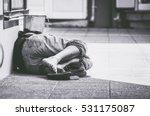 homeless man sleep on the...